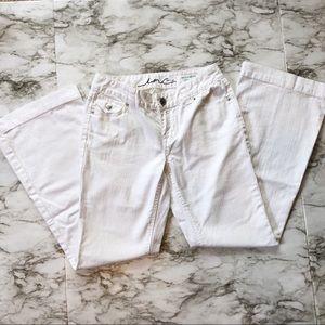 INC-White Textured Regular Fit Flare Leg Jeans-4P